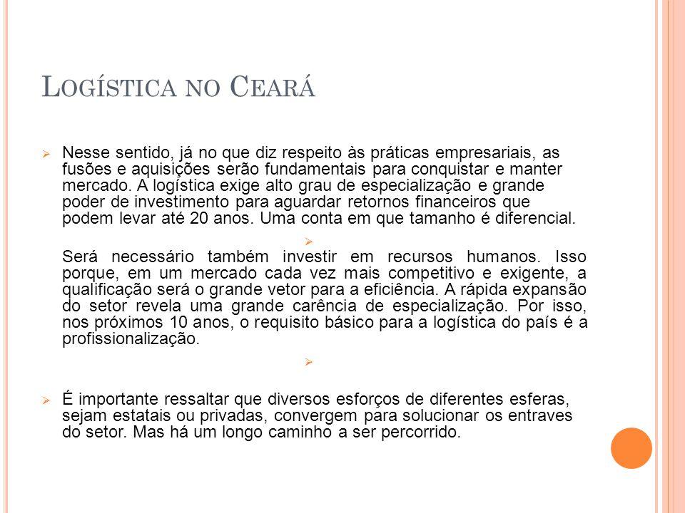 L OGISTICA NO C EARÁ No Ceará, vimos crescendo nesses últimos anos e divergindo nossos produtos, hoje além do cereal, castanha e frutas exportamos minério, calçado, etc.