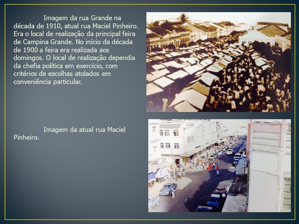 Imagem da rua Grande na década de 1910, atual rua Maciel Pinheiro.