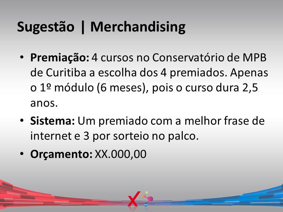 Sugestão | Merchandising Premiação: 4 cursos no Conservatório de MPB de Curitiba a escolha dos 4 premiados. Apenas o 1º módulo (6 meses), pois o curso