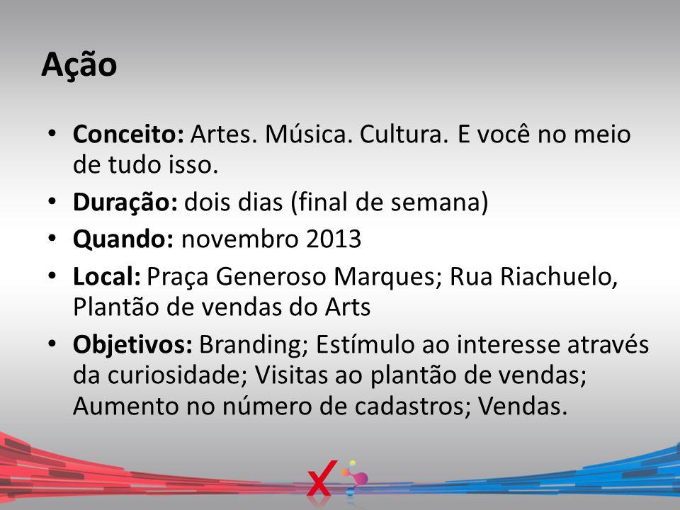 Ação Conceito: Artes. Música. Cultura. E você no meio de tudo isso. Duração: dois dias (final de semana) Quando: novembro 2013 Local: Praça Generoso M