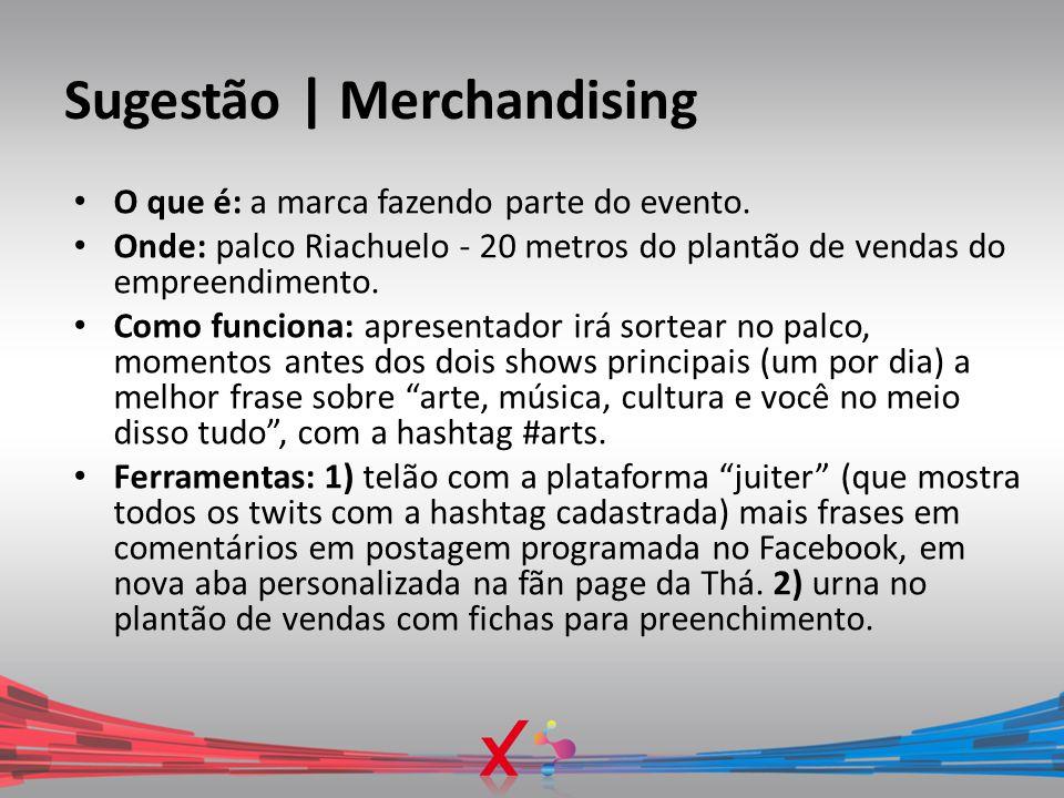 Sugestão | Merchandising O que é: a marca fazendo parte do evento. Onde: palco Riachuelo - 20 metros do plantão de vendas do empreendimento. Como func