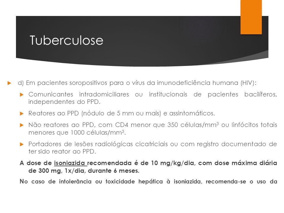 Tuberculose d) Em pacientes soropositivos para o vírus da imunodeficiência humana (HIV): Comunicantes intradomiciliares ou institucionais de pacientes
