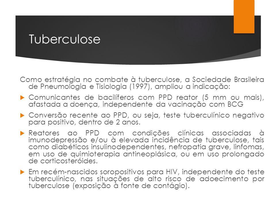 Tuberculose Como estratégia no combate à tuberculose, a Sociedade Brasileira de Pneumologia e Tisiologia (1997), ampliou a indicação: Comunicantes de