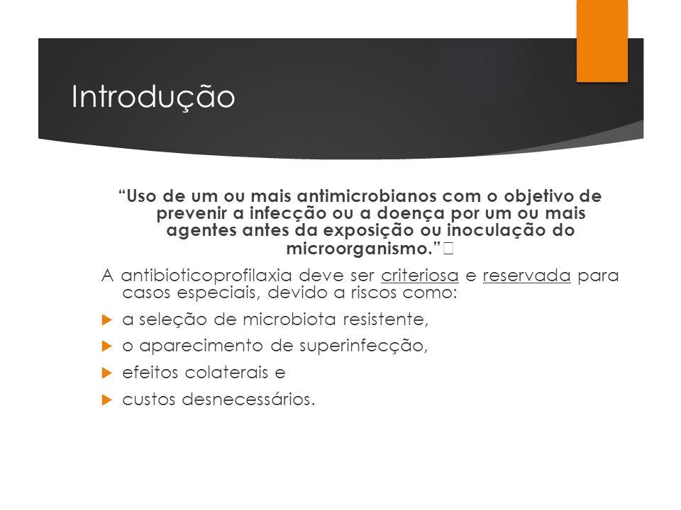 Introdução Uso de um ou mais antimicrobianos com o objetivo de prevenir a infecção ou a doença por um ou mais agentes antes da exposição ou inoculação