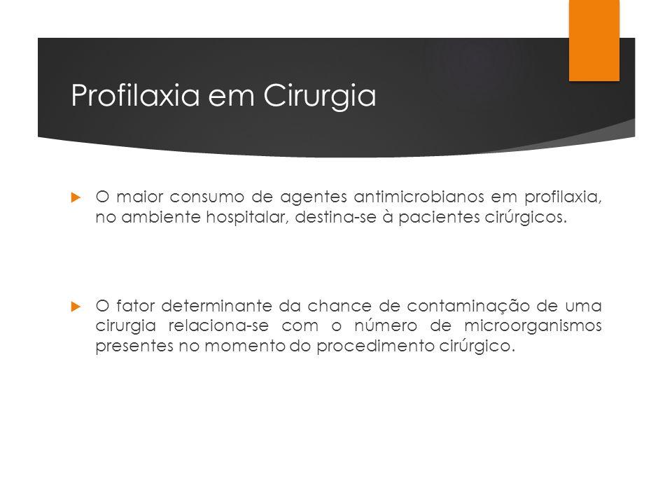 Profilaxia em Cirurgia O maior consumo de agentes antimicrobianos em profilaxia, no ambiente hospitalar, destina-se à pacientes cirúrgicos. O fator de