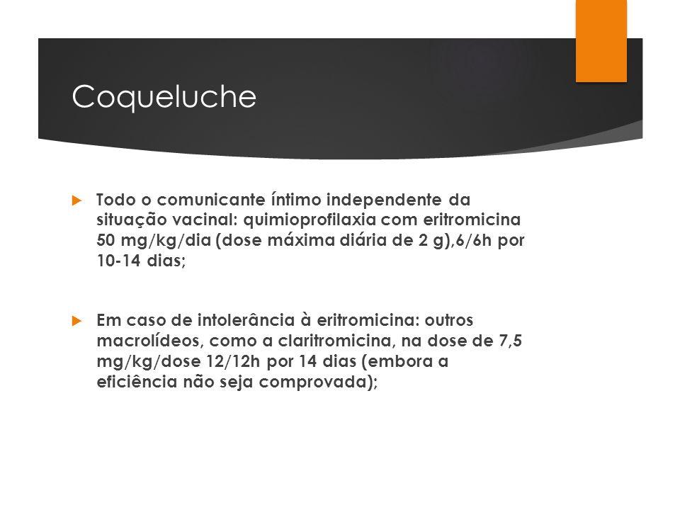 Coqueluche Todo o comunicante íntimo independente da situação vacinal: quimioprofilaxia com eritromicina 50 mg/kg/dia (dose máxima diária de 2 g),6/6h