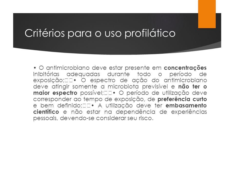 Critérios para o uso profilático O antimicrobiano deve estar presente em concentrações inibitórias adequadas durante todo o período de exposição; O es