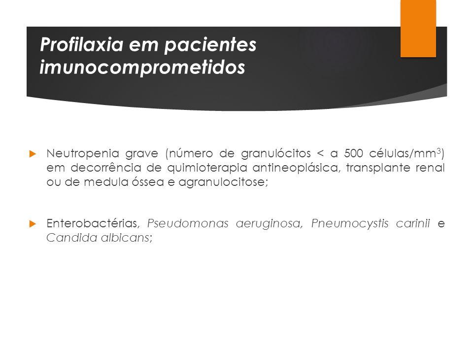 Profilaxia em pacientes imunocomprometidos Neutropenia grave (número de granulócitos < a 500 células/mm 3 ) em decorrência de quimioterapia antineoplá