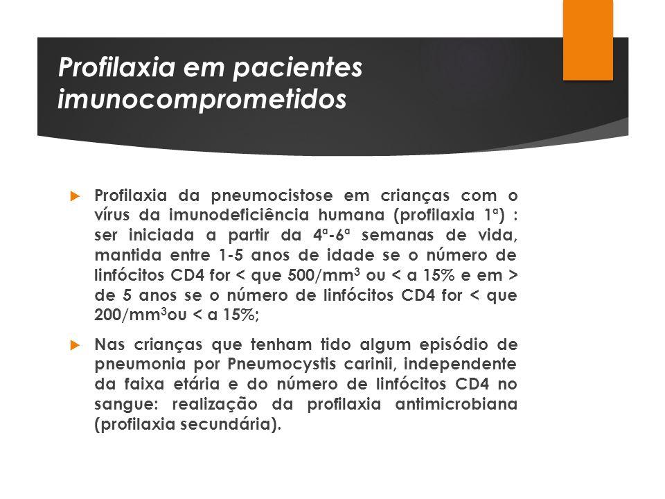 Profilaxia em pacientes imunocomprometidos Profilaxia da pneumocistose em crianças com o vírus da imunodeficiência humana (profilaxia 1ª) : ser inicia