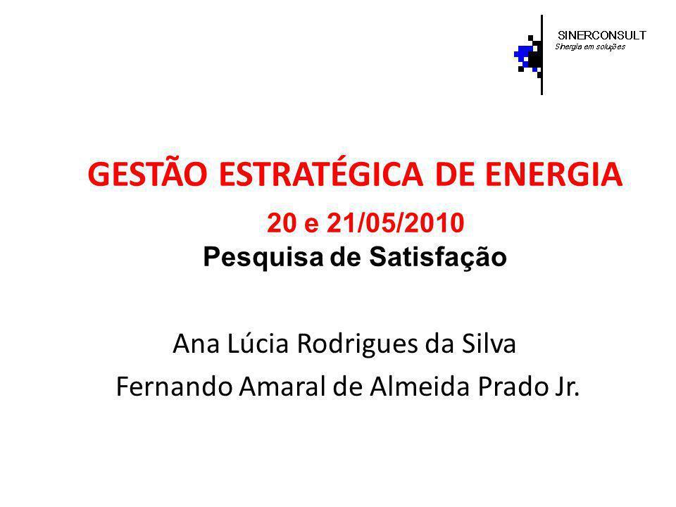GESTÃO ESTRATÉGICA DE ENERGIA 20 e 21/05/2010 Pesquisa de Satisfação Ana Lúcia Rodrigues da Silva Fernando Amaral de Almeida Prado Jr.