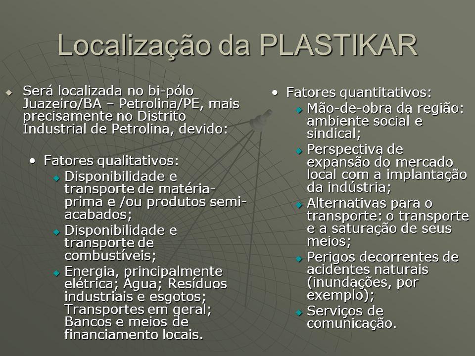 Localização da PLASTIKAR Será localizada no bi-pólo Juazeiro/BA – Petrolina/PE, mais precisamente no Distrito Industrial de Petrolina, devido: Será lo