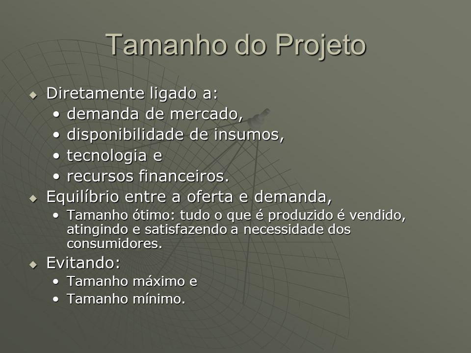 Tamanho do Projeto Diretamente ligado a: Diretamente ligado a: demanda de mercado,demanda de mercado, disponibilidade de insumos,disponibilidade de in
