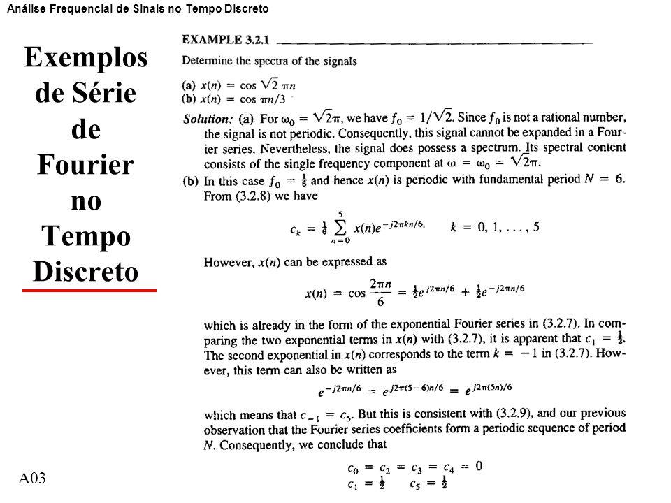 A0311 Exemplos de Série de Fourier no Tempo Discreto Análise Frequencial de Sinais no Tempo Discreto A03