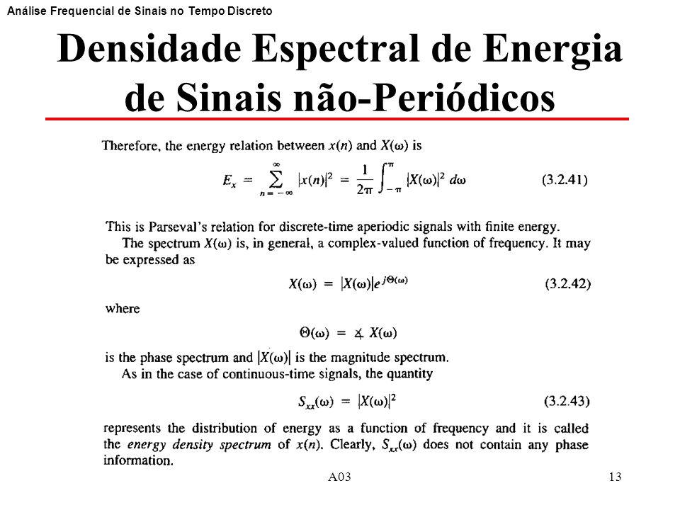 13 Densidade Espectral de Energia de Sinais não-Periódicos Análise Frequencial de Sinais no Tempo Discreto