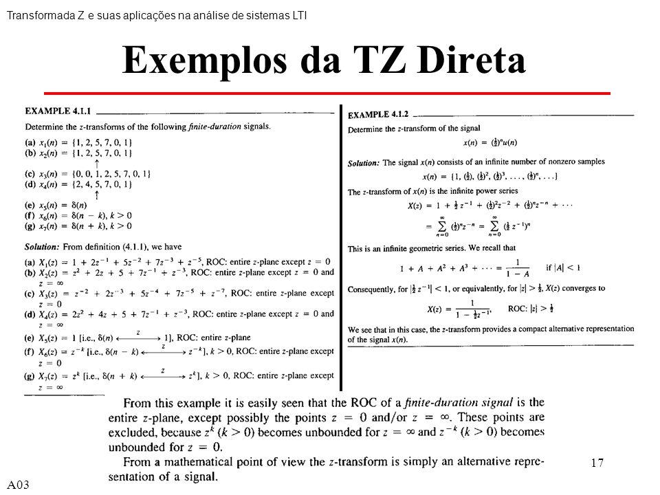 17 Exemplos da TZ Direta Transformada Z e suas aplicações na análise de sistemas LTI A03