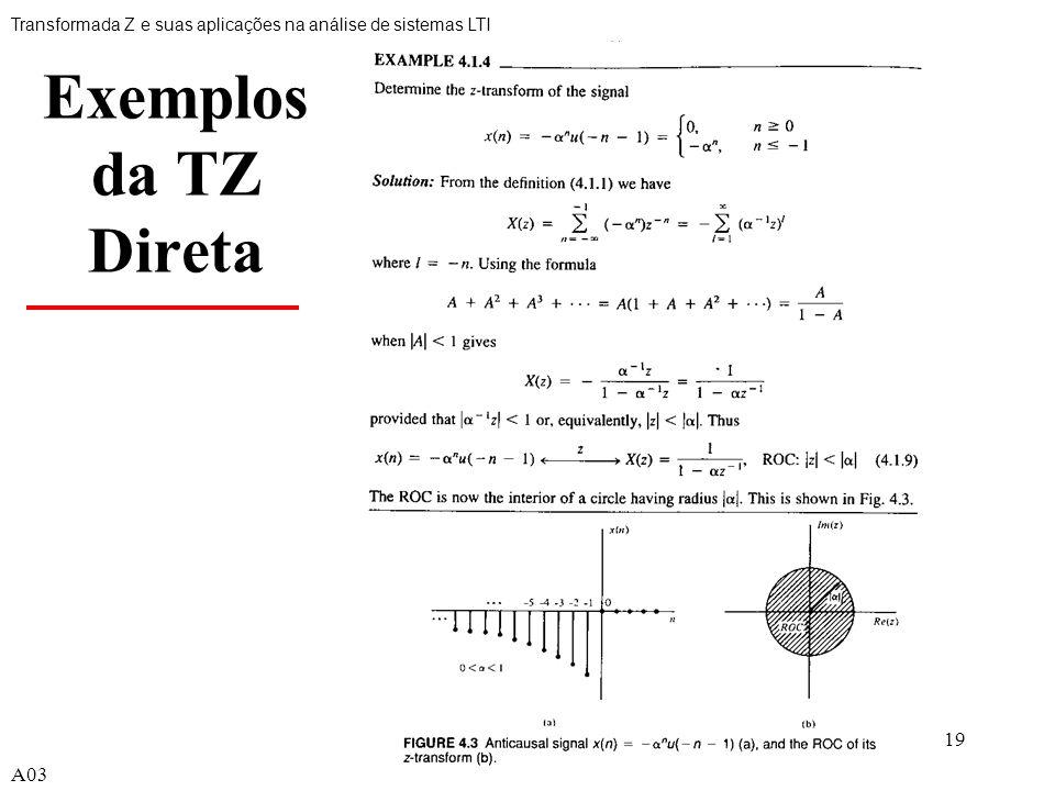 19 Exemplos da TZ Direta Transformada Z e suas aplicações na análise de sistemas LTI A03