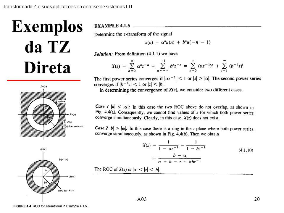 20 Exemplos da TZ Direta Transformada Z e suas aplicações na análise de sistemas LTI