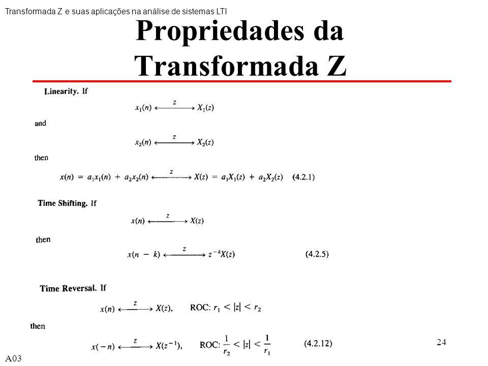 A0324 Propriedades da Transformada Z Transformada Z e suas aplicações na análise de sistemas LTI A03