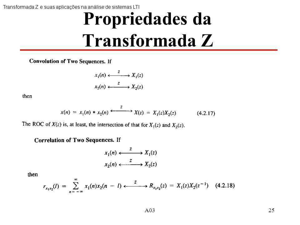 25 Propriedades da Transformada Z Transformada Z e suas aplicações na análise de sistemas LTI
