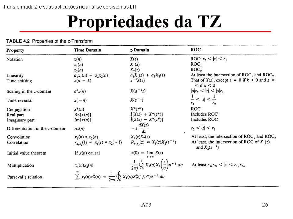 A0326 Propriedades da TZ Transformada Z e suas aplicações na análise de sistemas LTI