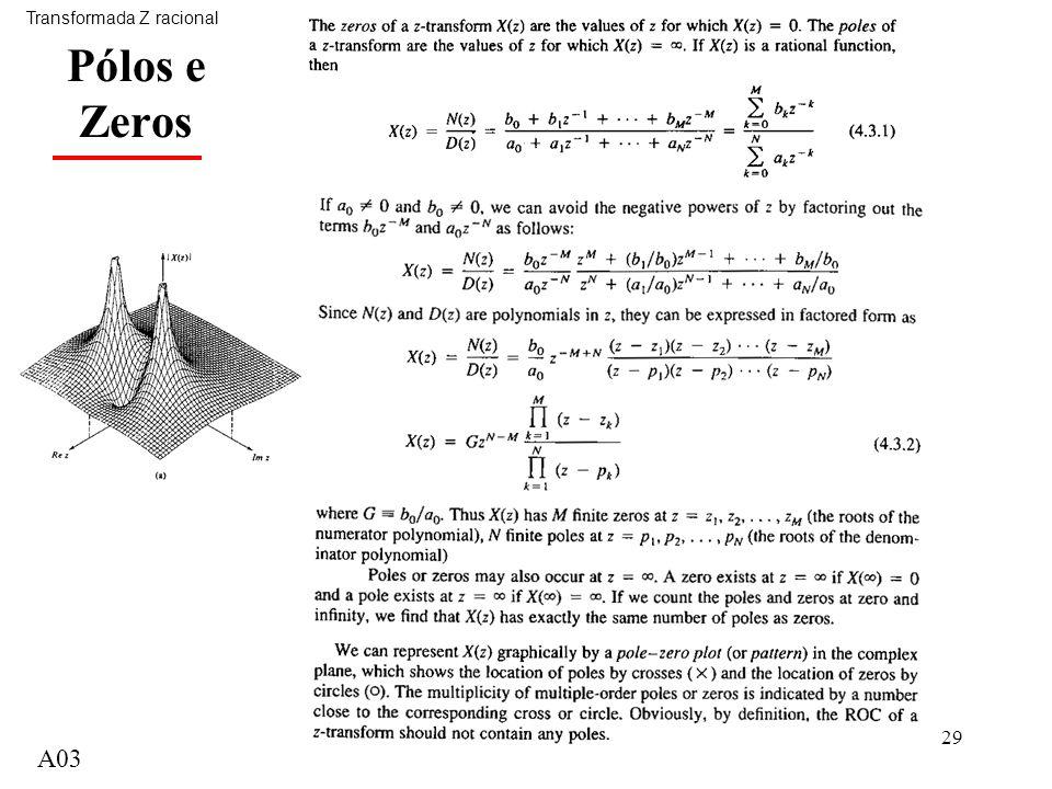 A0329 Pólos e Zeros Transformada Z racional A03