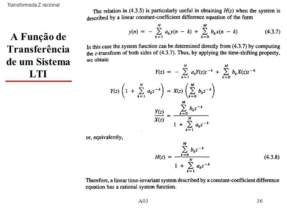 A0336 A Função de Transferência de um Sistema LTI Transformada Z racional
