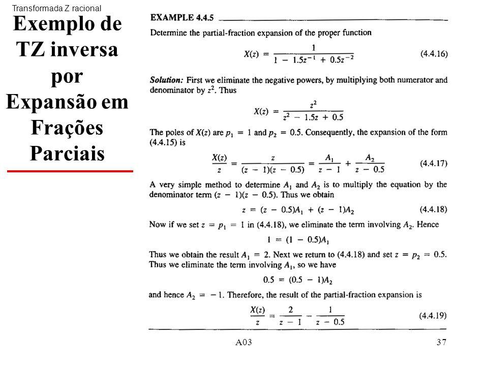 A0337 Exemplo de TZ inversa por Expansão em Frações Parciais Transformada Z racional