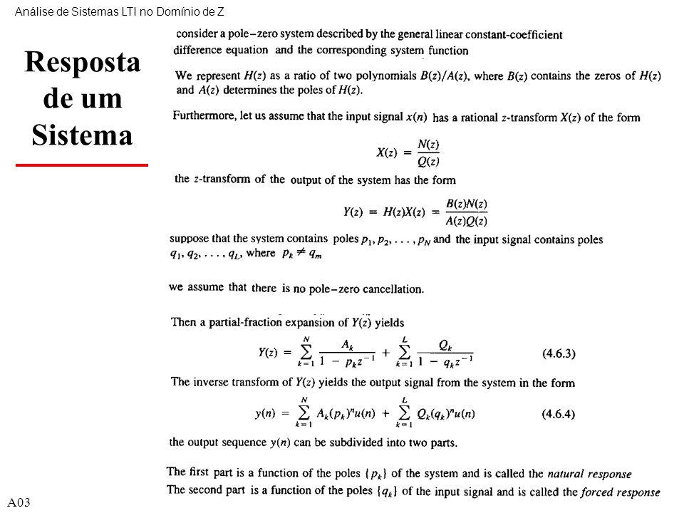 A0339 Resposta de um Sistema Análise de Sistemas LTI no Domínio de Z A03