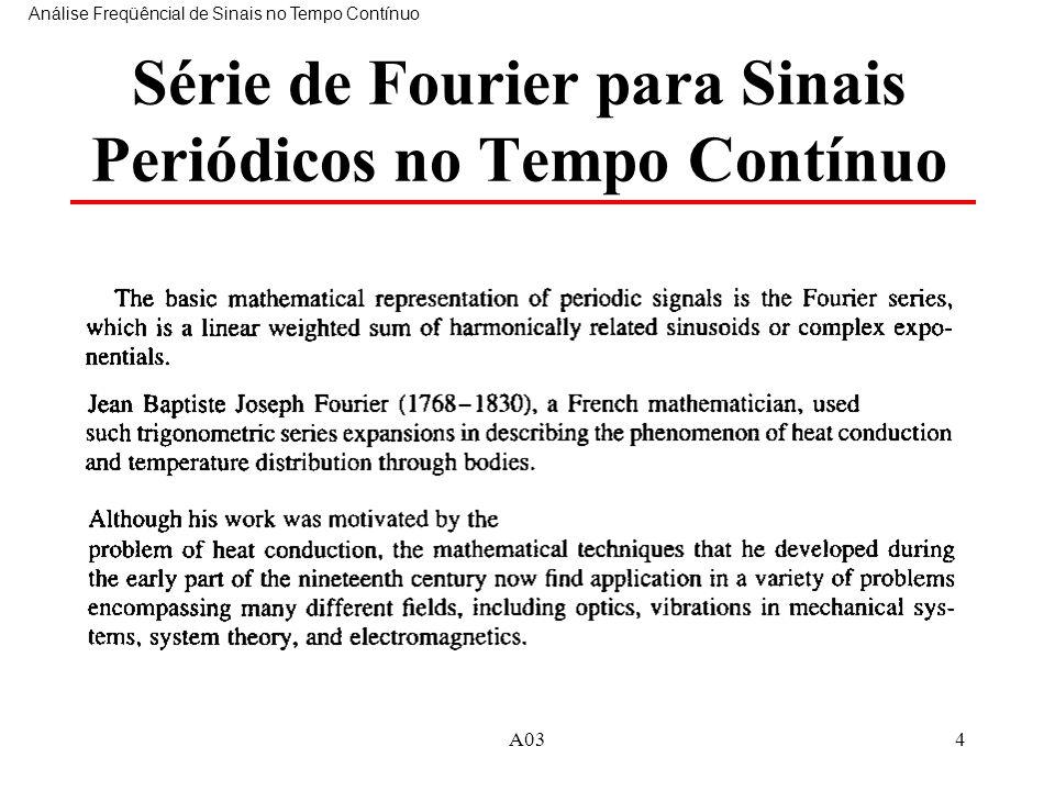 A034 Série de Fourier para Sinais Periódicos no Tempo Contínuo Análise Freqüêncial de Sinais no Tempo Contínuo