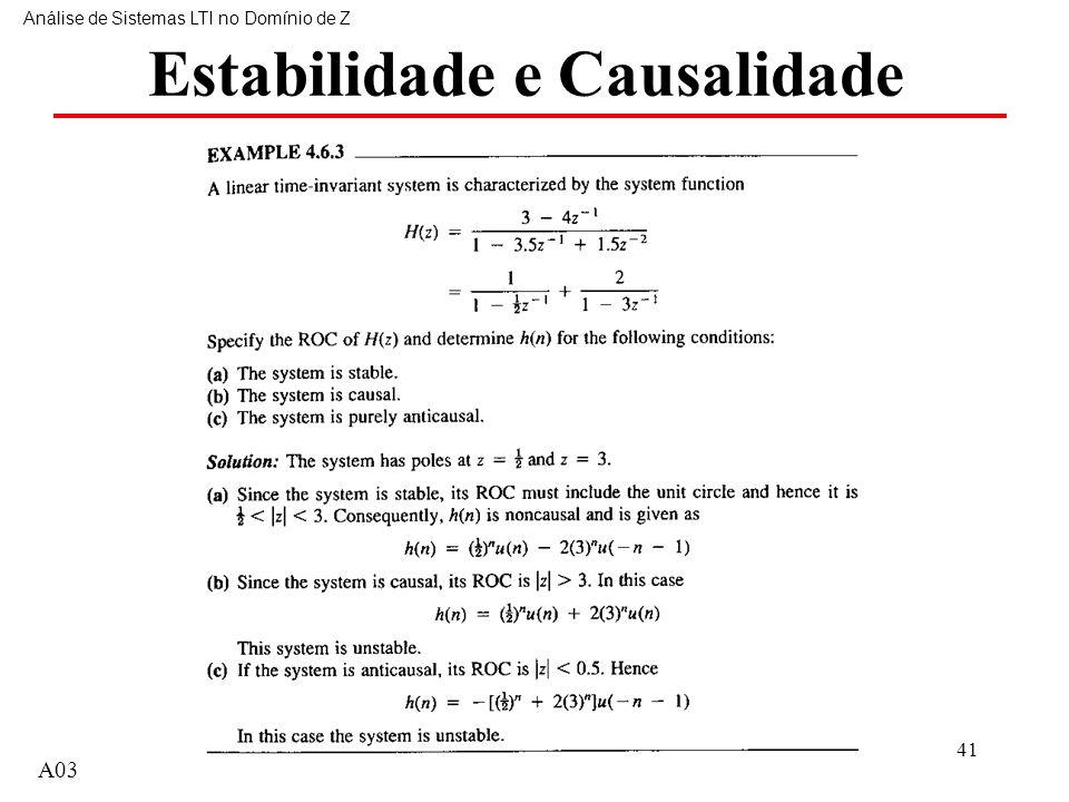 A0341 Estabilidade e Causalidade Análise de Sistemas LTI no Domínio de Z A03