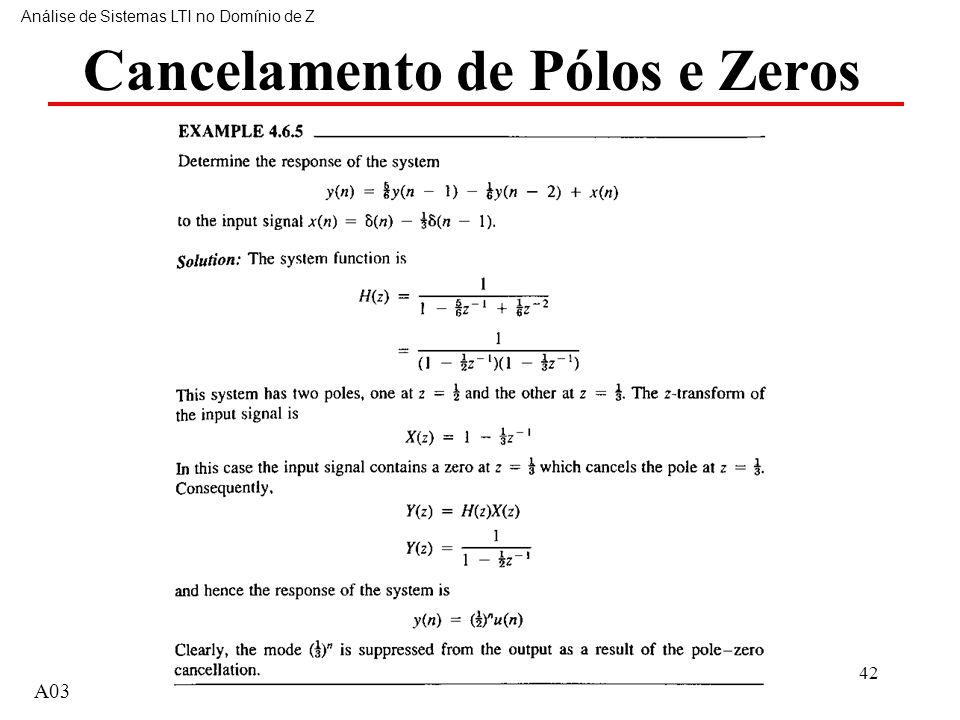 42 Cancelamento de Pólos e Zeros Análise de Sistemas LTI no Domínio de Z A03