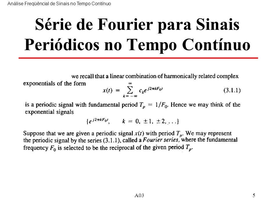 A035 Série de Fourier para Sinais Periódicos no Tempo Contínuo Análise Freqüêncial de Sinais no Tempo Contínuo