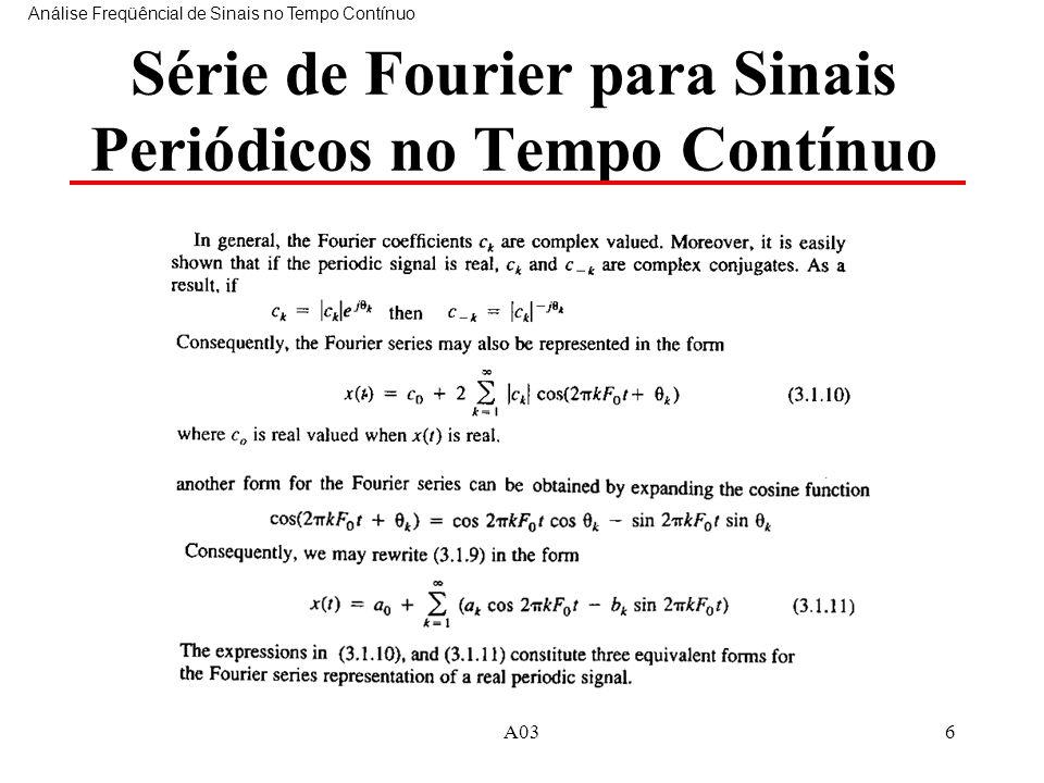 A036 Série de Fourier para Sinais Periódicos no Tempo Contínuo Análise Freqüêncial de Sinais no Tempo Contínuo
