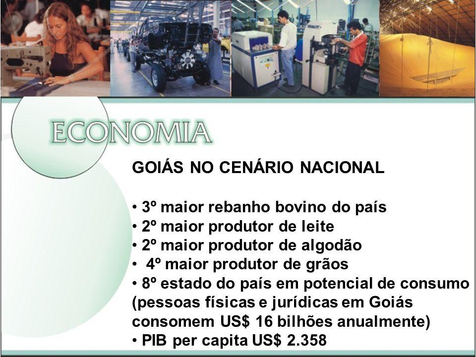 GOIÁS NO CENÁRIO NACIONAL 3º maior rebanho bovino do país 2º maior produtor de leite 2º maior produtor de algodão 4º maior produtor de grãos 8º estado