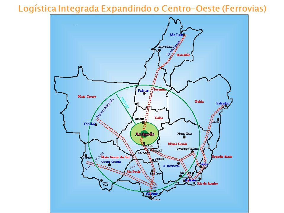 Logística Integrada Expandindo o Centro-Oeste (Hidrovias) Hidrovia Tietê - Paraná (Corredores Transmetropolitano do Mercosul e do Sudoeste) A hidrovia Tietê-Paraná permite a navegação numa extensão de 1.100 km entre Conchas no rio Tietê(SP) e São Simão(GO), no rio Paranaíba, até ltaipu, atingindo 2.400 km de via navegável.