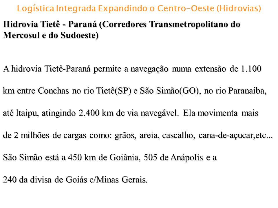 Logística Integrada Expandindo o Centro-Oeste (Hidrovias) Hidrovia Tietê - Paraná (Corredores Transmetropolitano do Mercosul e do Sudoeste) A hidrovia