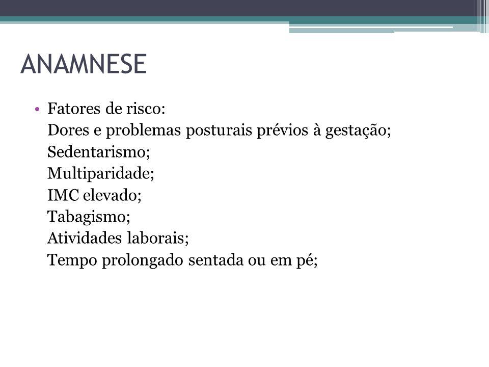 ANAMNESE Fatores de risco: Dores e problemas posturais prévios à gestação; Sedentarismo; Multiparidade; IMC elevado; Tabagismo; Atividades laborais; T
