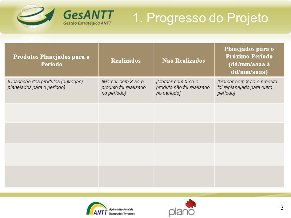 1. Progresso do Projeto Produtos Planejados para o Período RealizadosNão Realizados Planejados para o Próximo Período (dd/mm/aaaa à dd/mm/aaaa) [Descr