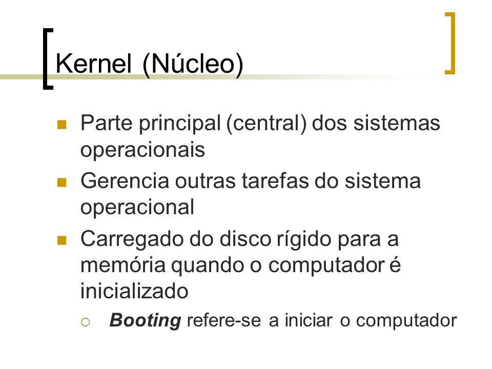 Kernel (Núcleo) Parte principal (central) dos sistemas operacionais Gerencia outras tarefas do sistema operacional Carregado do disco rígido para a me