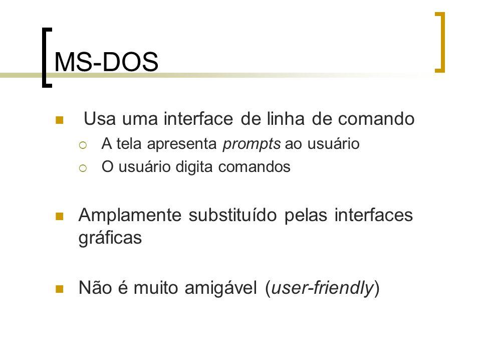 MS-DOS Usa uma interface de linha de comando A tela apresenta prompts ao usuário O usuário digita comandos Amplamente substituído pelas interfaces grá