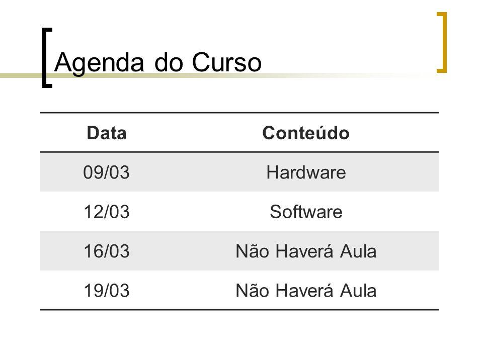 Agenda do Curso DataConteúdo 09/03Hardware 12/03Software 16/03Não Haverá Aula 19/03Não Haverá Aula
