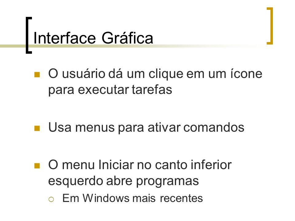 Interface Gráfica O usuário dá um clique em um ícone para executar tarefas Usa menus para ativar comandos O menu Iniciar no canto inferior esquerdo ab