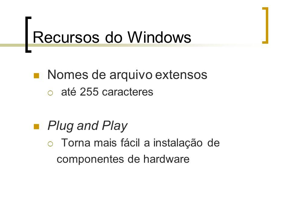 Recursos do Windows Nomes de arquivo extensos até 255 caracteres Plug and Play Torna mais fácil a instalação de componentes de hardware