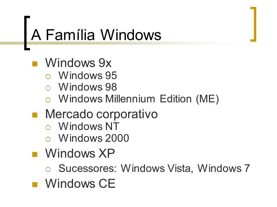 Windows 9x Windows 95 Windows 98 Windows Millennium Edition (ME) Mercado corporativo Windows NT Windows 2000 Windows XP Sucessores: Windows Vista, Win