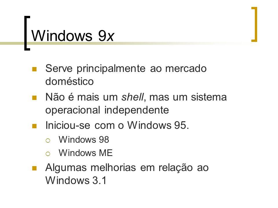 Windows 9x Serve principalmente ao mercado doméstico Não é mais um shell, mas um sistema operacional independente Iniciou-se com o Windows 95. Windows