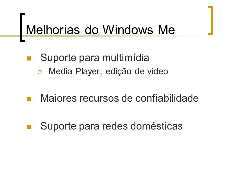Melhorias do Windows Me Suporte para multimídia Media Player, edição de vídeo Maiores recursos de confiabilidade Suporte para redes domésticas