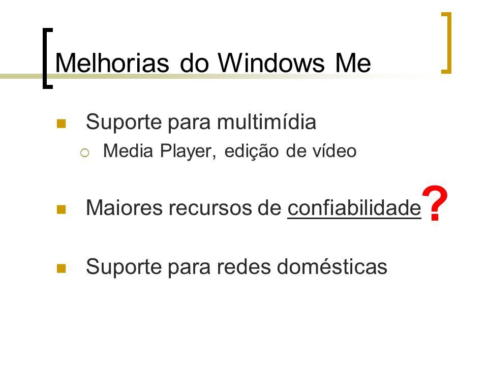 Melhorias do Windows Me Suporte para multimídia Media Player, edição de vídeo Maiores recursos de confiabilidade Suporte para redes domésticas ?