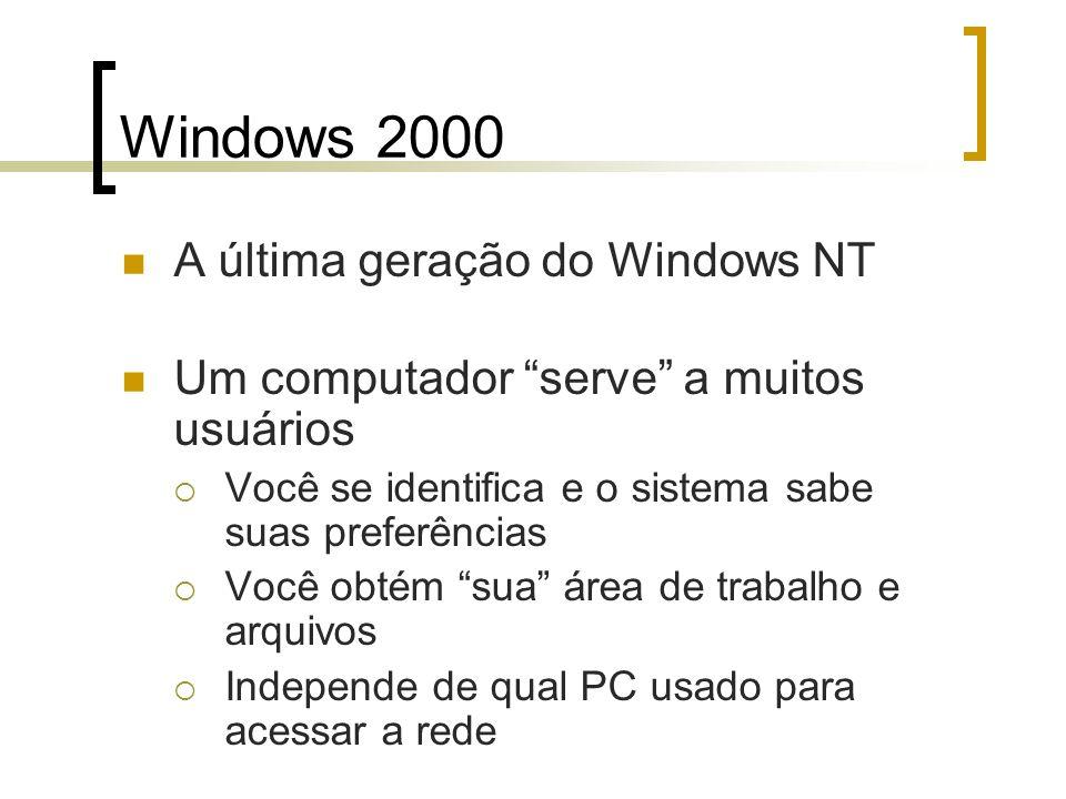 Windows 2000 A última geração do Windows NT Um computador serve a muitos usuários Você se identifica e o sistema sabe suas preferências Você obtém sua