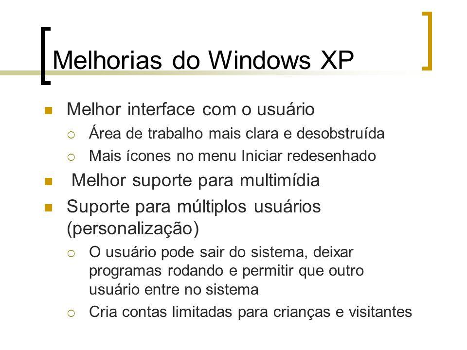 Melhorias do Windows XP Melhor interface com o usuário Área de trabalho mais clara e desobstruída Mais ícones no menu Iniciar redesenhado Melhor supor