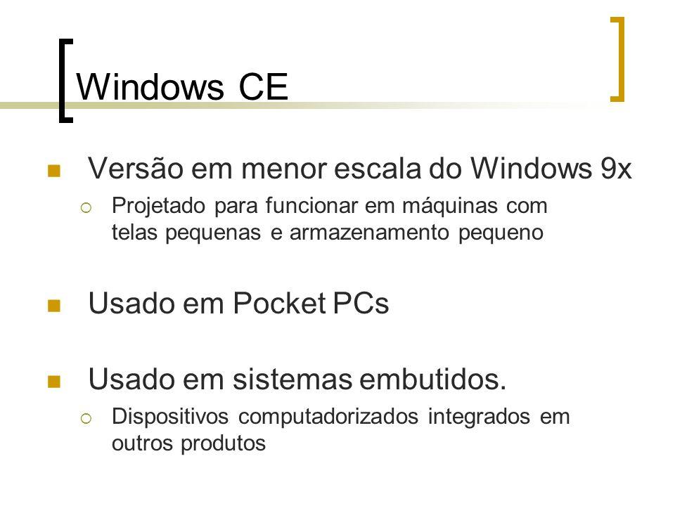 Windows CE Versão em menor escala do Windows 9x Projetado para funcionar em máquinas com telas pequenas e armazenamento pequeno Usado em Pocket PCs Us